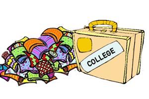 college suitcase