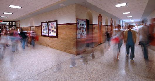 school hallway blur