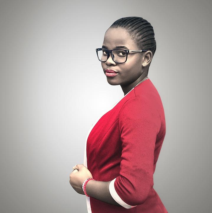 black woman red shirt